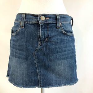 Old Navy 6 Ultra Low Rise Skirt Denim Raw Hem